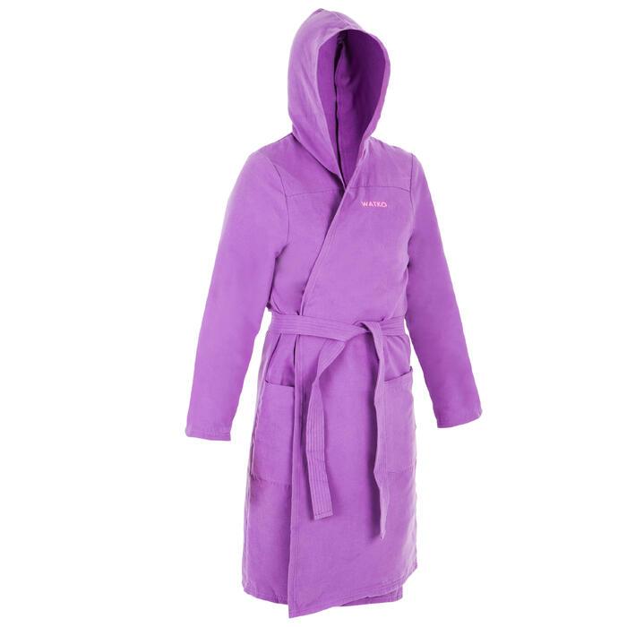 Peignoir de bain à capuche microfibre compact femme violet