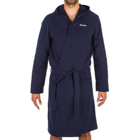 Men's Lightweight Cotton Pool Bathrobe with Hood - Navy Blue