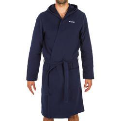 Badjas met capuchon voor heren marineblauw licht katoen