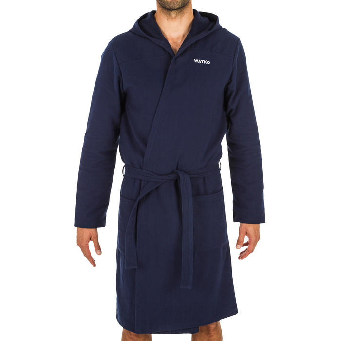 Peignoir de bain homme coton bleu foncé