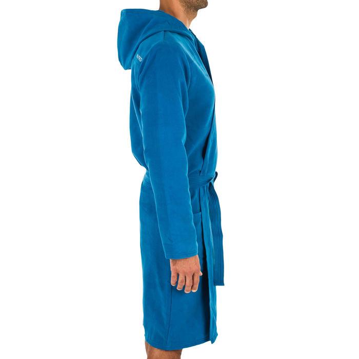 Men's Compact Microfibre Pool Bathrobe with Hood - Indigo Blue