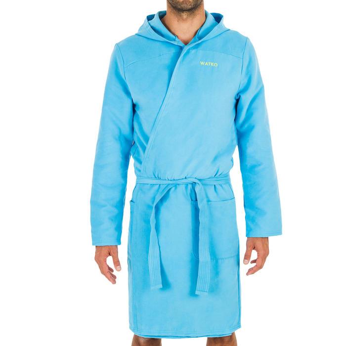 Men's Compact Microfibre Pool Bathrobe with Hood - Blue