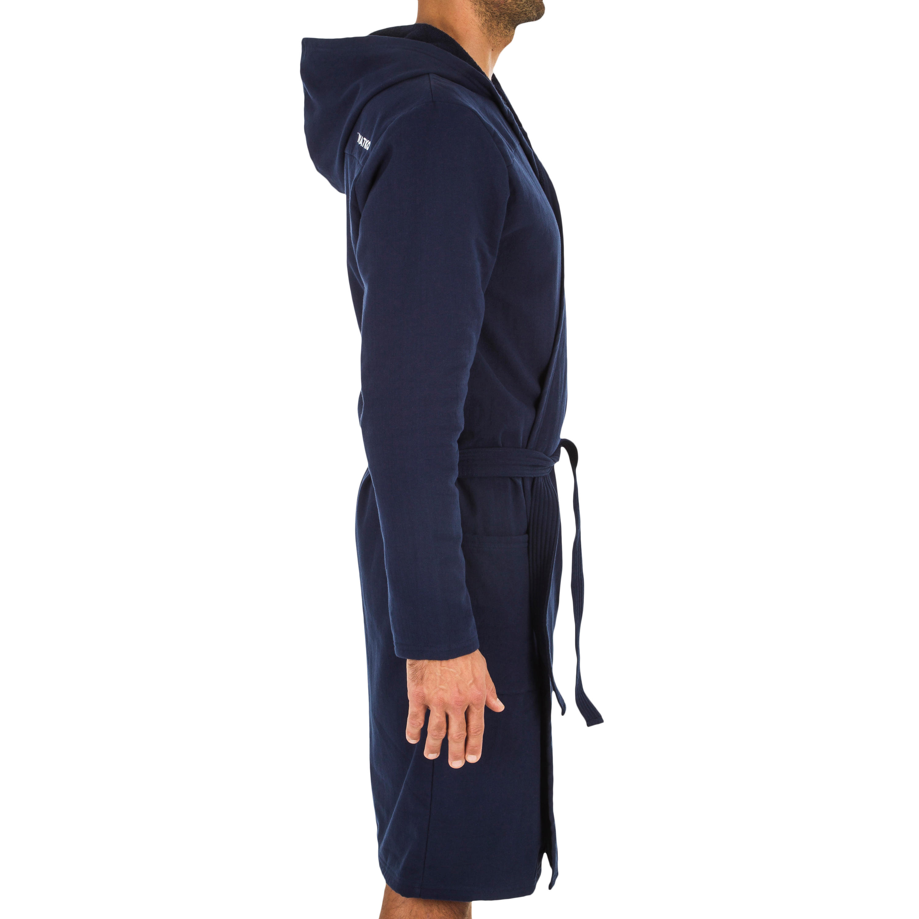 Home Way Men/'s Cotton Hooded Robe Thin Navy Size L