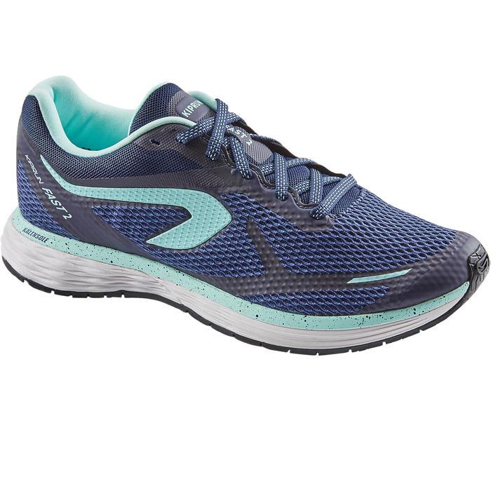 Hardloopschoenen voor dames Kiprun Fast blauw/groen