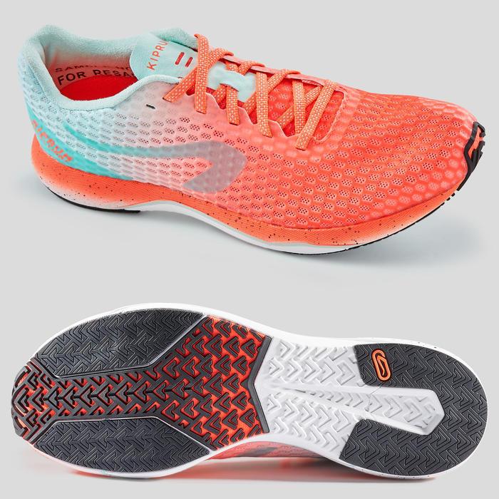 Hardloopschoenen voor dames Kiprun Ultralight koraalrood/groen