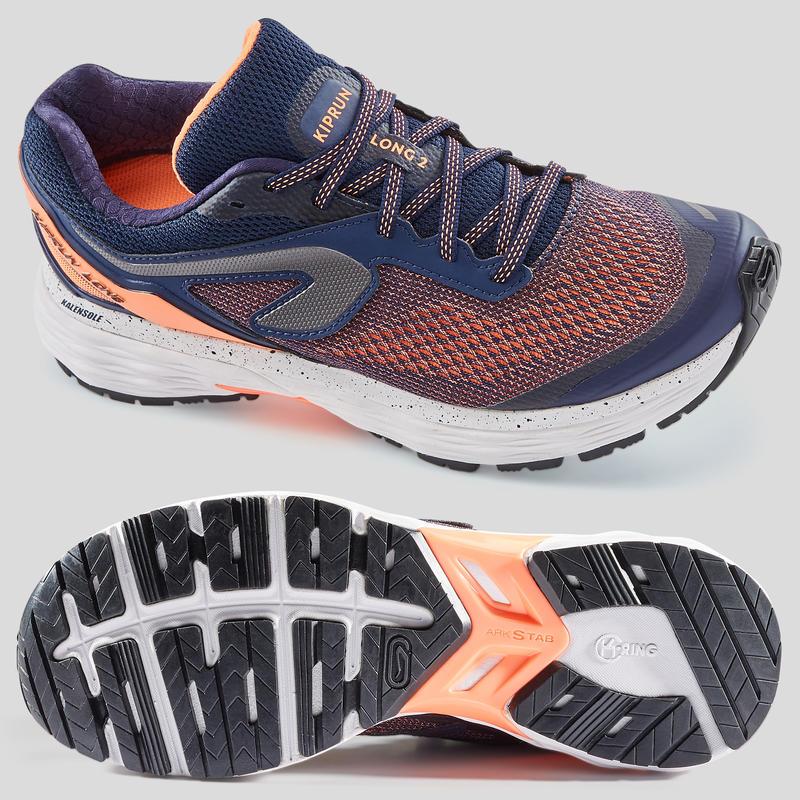 KIPRUN LONG 2 WOMEN'S RUNNING SHOES - BLUE/CORAL