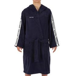Badjas voor dames voor waterpolo dik katoen 500 marineblauw