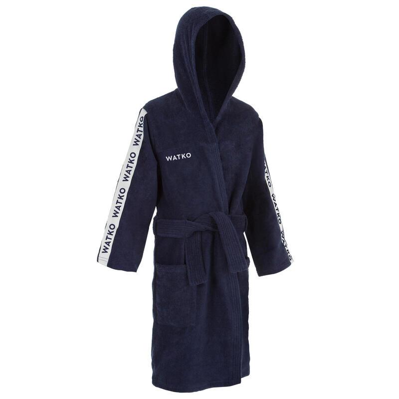 Badjas voor kinderen 500 dik katoen donkerblauw