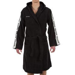 Badjas voor heren voor waterpolo dik katoen 500 zwart