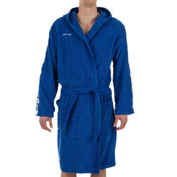 Badjas voor heren voor waterpolo dik katoen 500 lichtblauw