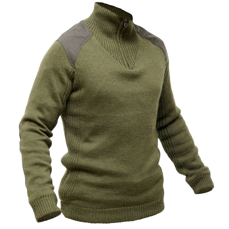 SWEATERS Shooting and Hunting - Wool windproof pullover 900 SOLOGNAC - Hunting and Shooting Clothing