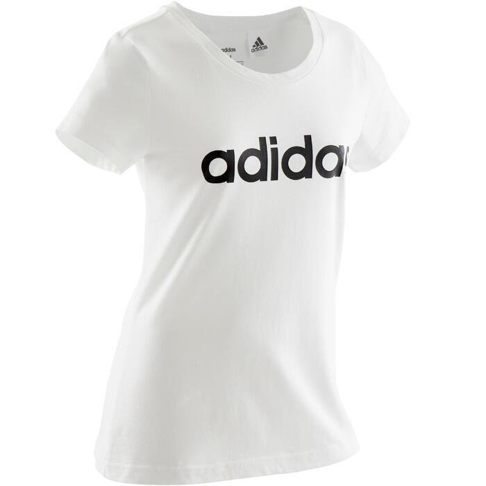 T-shirt fille adidas blanc avec logo contrasté noir sur la poitrine
