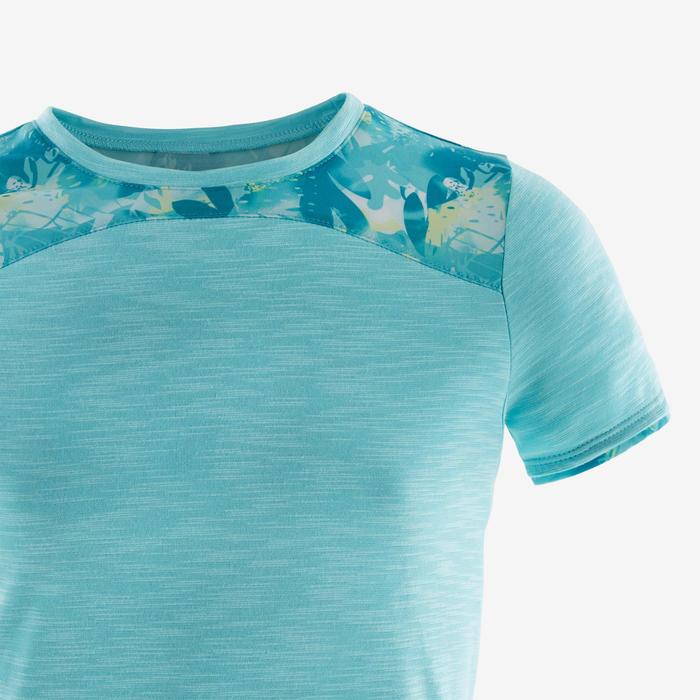 T-Shirt manches courtes coton respirant 500 fille GYM ENFANT bleu chiné AOP vert
