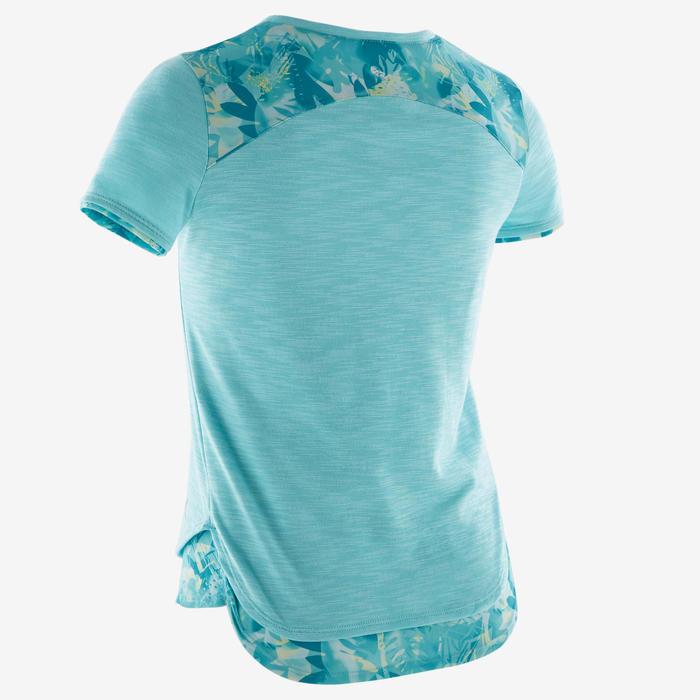 Ademend T-shirt met korte mouwen gym meisjes 500 katoen gemêleerd blauw/groen