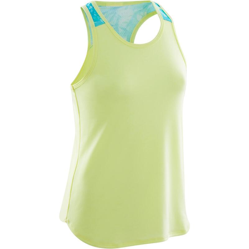 Ademend topje voor gym meisjes 500 fluogeel/groen print