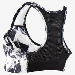 Ademend sporttopje voor gym S500 zwart/print