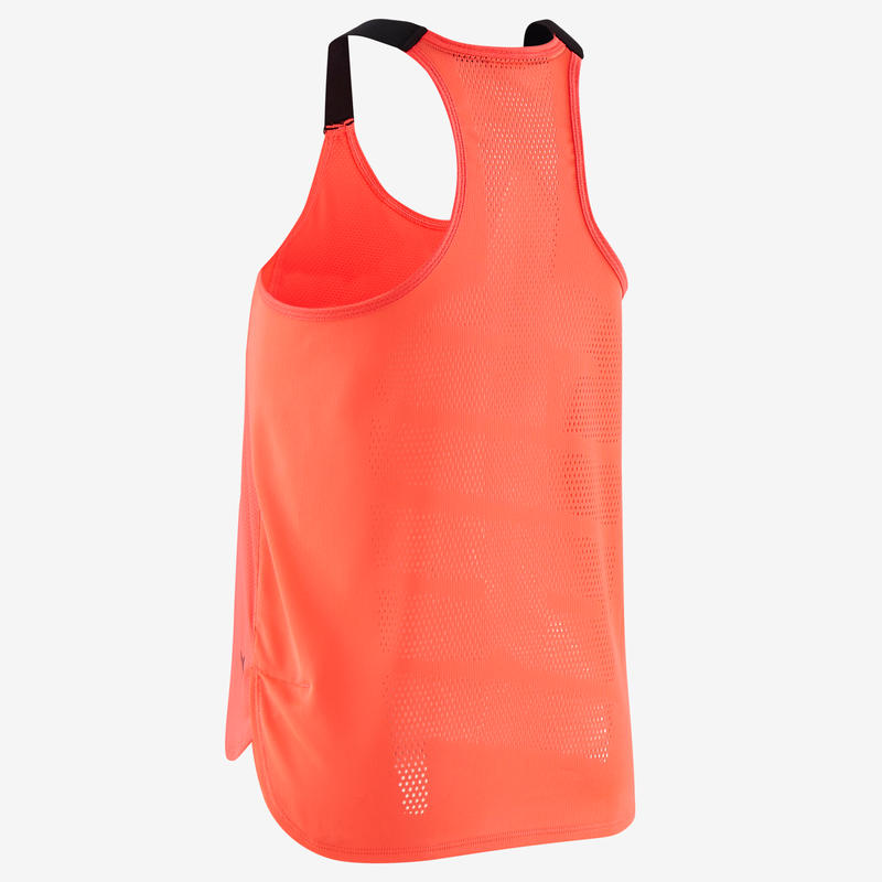 Girls' Breathable Gym Tank Top S900 - Neon Pink/Black Straps