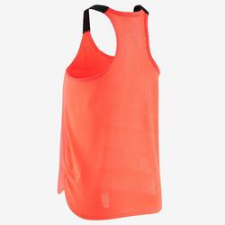 Ademend topje voor gym meisjes S900 fluoroze met zwarte bandjes