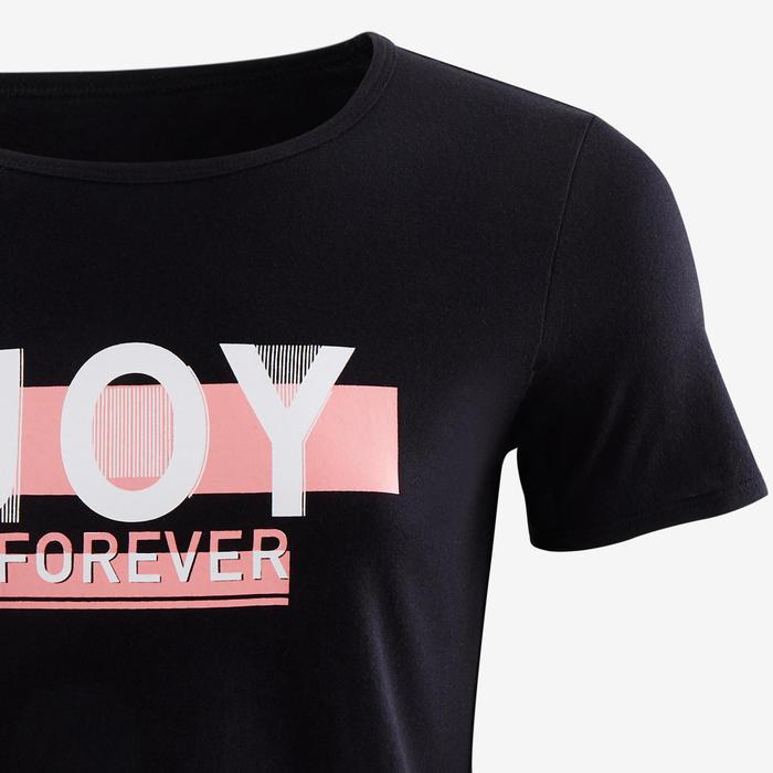 T-shirt met korte mouwen voor gym meisjes 100 zwart/opdruk