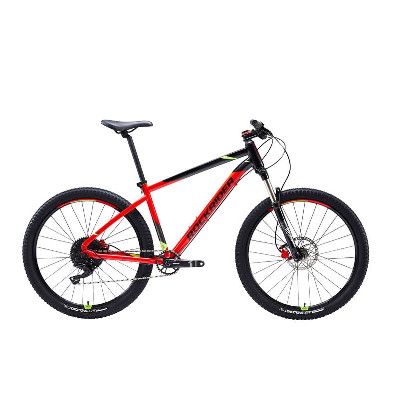 MEN SPORT TRAIL MTB BIKE Cycling - ST 900 Mountain Bike, Black/Red- 27.5