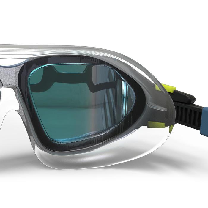 鏡面鏡片游泳面鏡500 ACTIVE ASIA L號黑白色