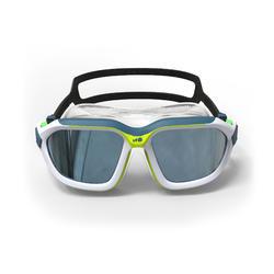 鏡面鏡片游泳面鏡Active Asia 500 S號-白綠色