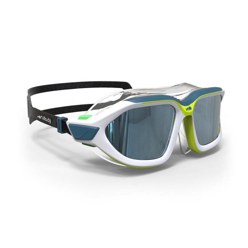 Active Asia Swimming Mask 500 S - White Green Mirror Lenses