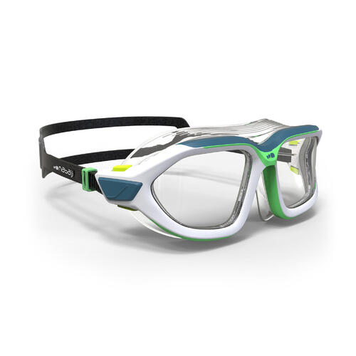 masque de piscine 500 active taille S blanc vert verres clairs