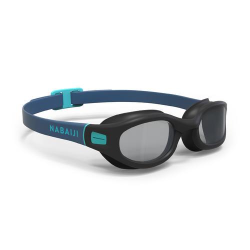 lunettes de piscine 100 soft taille L noir bleu verres fumées