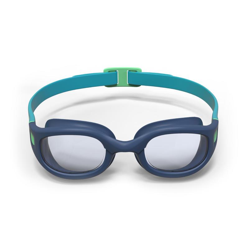 แว่นตาว่ายน้ำชนิดเลนส์ใสรุ่น 100 SOFT ขนาด L (สีฟ้า/เขียว)