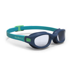 SWIMMING GOGGLES 100 SOFT SIZE L BLUE GREEN CLEAR LENSES