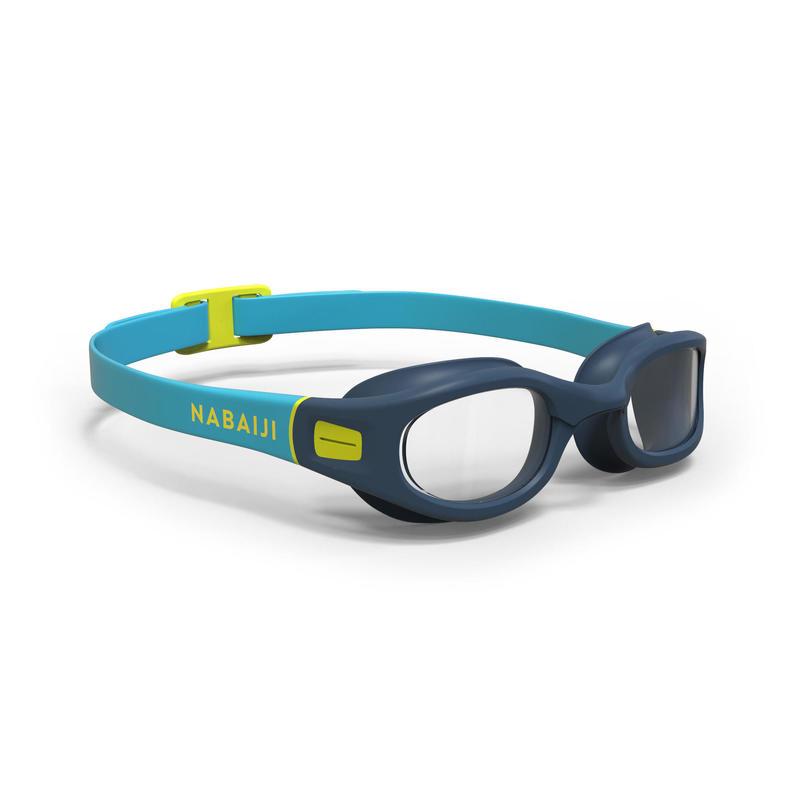Zwembril met heldere glazen Soft maat S blauw/geel