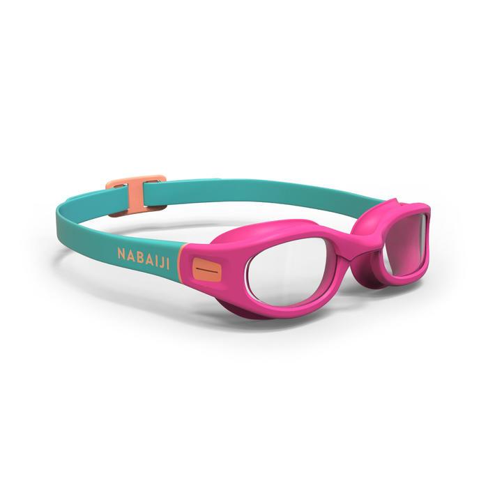 軟材質泳鏡100 S號珊瑚粉紅色透明鏡片