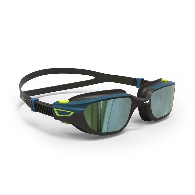 Zwembril met spiegelglazen Spirit maat L zwart blauw