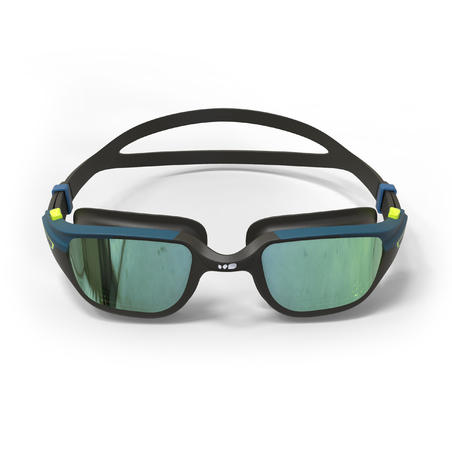 SWIMMING GOGGLES 500 SPIRIT SIZE L BLACK BLUE MIRRORED LENSES