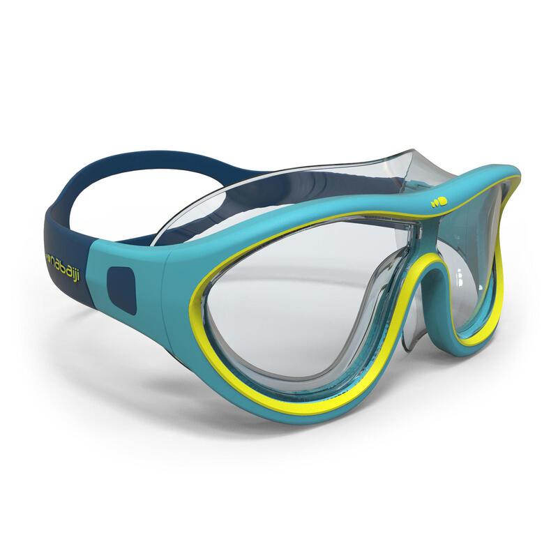 Maschera nuoto viso piccolo 100 SWIMDOW azzurro-giallo