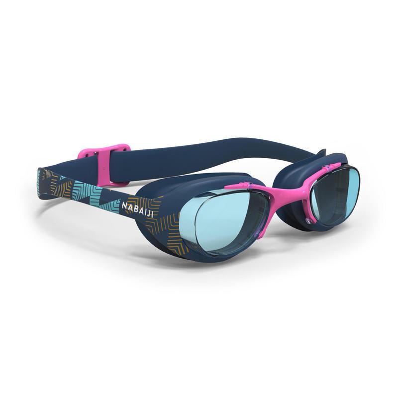 Zwembril met heldere glazen X-Base PRINT maat L marineblauw roze