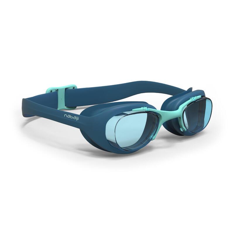 Zwembril met heldere glazen X-Base maat L blauw