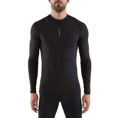 Adult Football Long-Sleeved Base Layer Top Keepdry 100 - Black