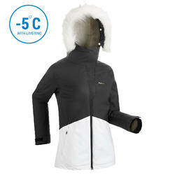 WOMEN'S D-SKI JACKET 180 - BLACK AND WHITE