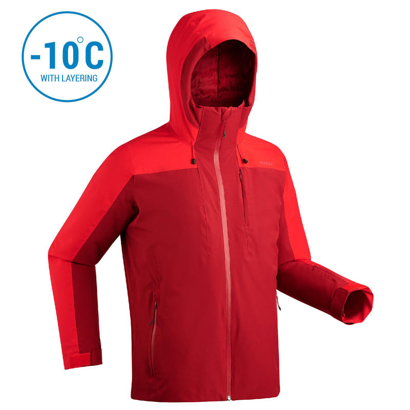 Men's Piste Ski Jacket 500 - red