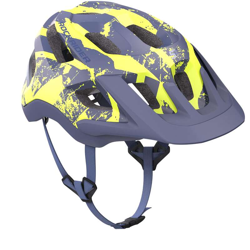 CYKELHJÄLMMTB VUXEN Cykelsport - Cykelhjälm MTB ST 500 blå/gul ROCKRIDER - Cykelhjälmar