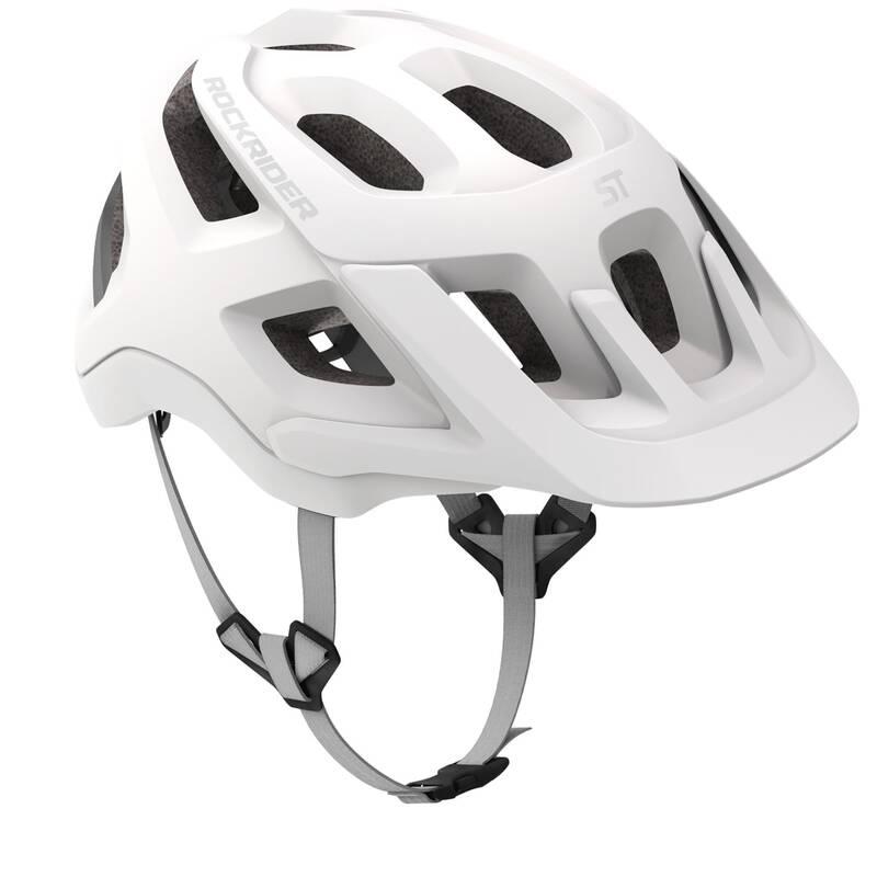 PŘILBY NA HORSKÁ KOLA Cyklistika - HELMA MTB 500 BÍLÁ ROCKRIDER - Cyklistické vybavení