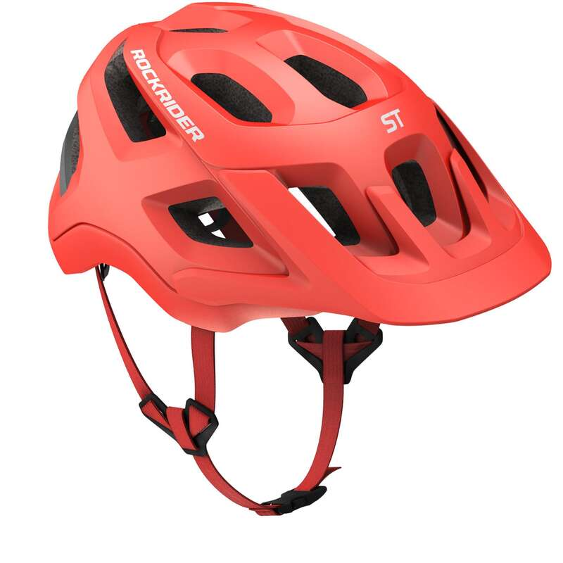 CYKELHJÄLMMTB VUXEN Cykelsport - Cykelhjälm MTB ST 500 röd ROCKRIDER - Cykelhjälmar