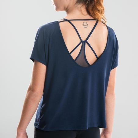 T-shirt de danse moderne fluide bleu marine – Femmes