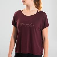 T-shirt de danse moderne fluide bordeaux – Femmes
