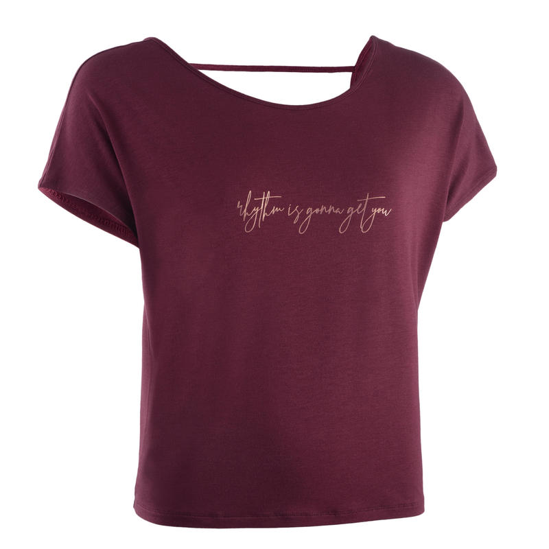 Loose Modern Dance T-Shirt Burgundy - Women