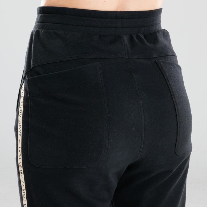 Broek voor streetdance dames wortelbroek zwart met witte streep