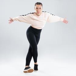 Cropped sweater voor streetdance dames rozebeige