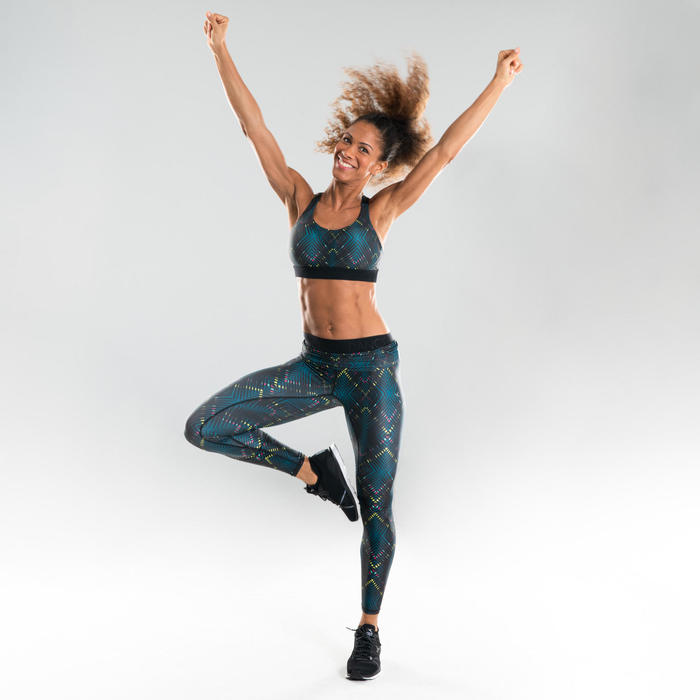 Sujetador-top danza fitness negro con estampado mujer